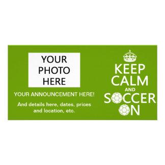 Gardez le calme et le football dessus carte avec photo