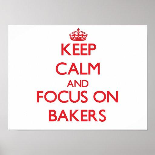 Gardez le calme et le foyer sur des boulangers poster