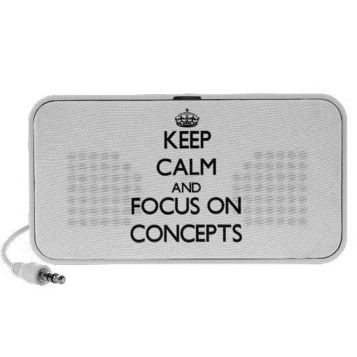 Gardez le calme et le foyer sur des concepts haut-parleur de voyage