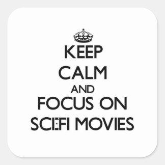 Gardez le calme et le foyer sur des films de la sticker carré