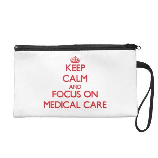 Gardez le calme et le foyer sur des soins médicaux pochette avec dragonne