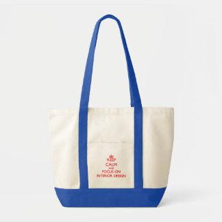 Gardez le calme et le foyer sur le design d'intéri sacs en toile