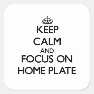 Gardez le calme et le foyer sur le marbre sticker carré