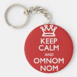 Gardez le calme et l'OmNom Nom Porte-clé Rond