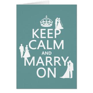 Gardez le calme et mariez sur (tout arrière - plan carte de vœux