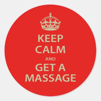 Gardez le calme et obtenez un massage adhésifs