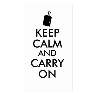 Gardez le calme et perpétuez la coutume de voyage carte de visite