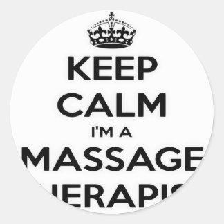 Gardez le calme que je suis un thérapeute de massa adhésif rond