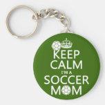Gardez le calme que je suis une maman du football  porte-clefs