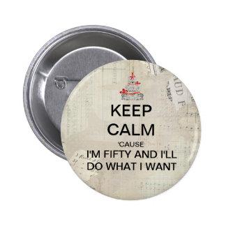Gardez le cinquantième cadeau d'anniversaire de macaron rond 5 cm