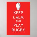 Gardez le rugby de calme et de jeu affiches
