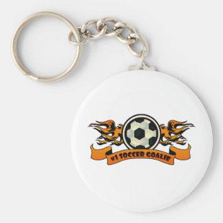 Gardien de but du football #1 porte-clé rond