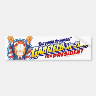 Garfield For President in 2016 Bumper Sticker
