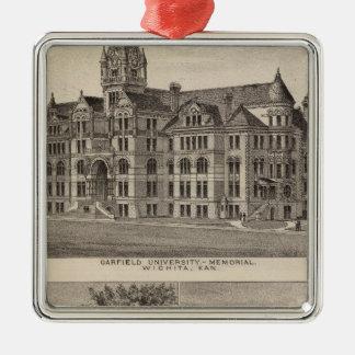 Garfield University, Kansas Silver-Colored Square Ornament