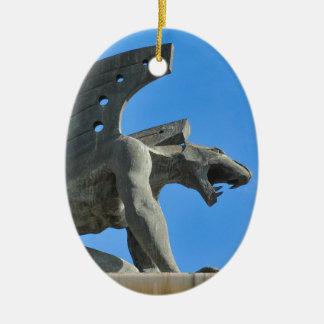 Gargoyle Ceramic Oval Ornament