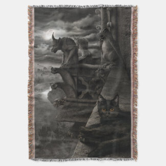 Gargoyle Kitty Throw Blanket