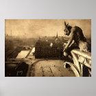 Gargoyle Notre Dame, Paris France 1912 Vintage Poster