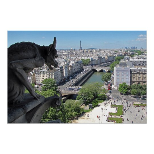 Gargoyle of the Notre-Dame watches over the Paris Poster