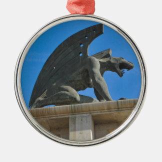 Gargoyle Silver-Colored Round Ornament