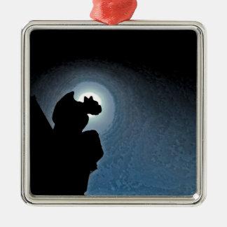 Gargoyle Silver-Colored Square Ornament