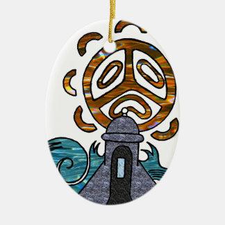 garita del diablo y Sol Taino Ceramic Oval Ornament