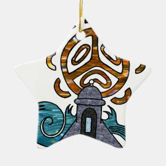 garita del diablo y Sol Taino Ceramic Star Ornament
