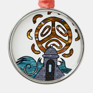 garita del diablo y Sol Taino Silver-Colored Round Ornament