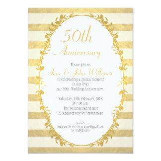 Garland Faux Gold 50th Anniversary Invitation