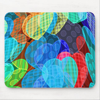 garlands of pastel colored hearts mouse pad