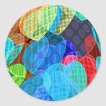 garlands of pastel coloured hearts round sticker