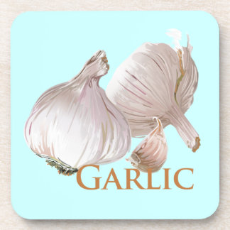 Garlic and Garlic Clove Beverage Coasters