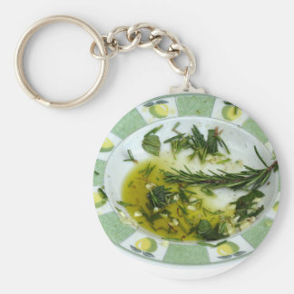 Garlic and herb infused olive oil basic round button keychain