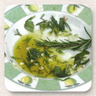 Garlic and herb infused olive oil drink coaster