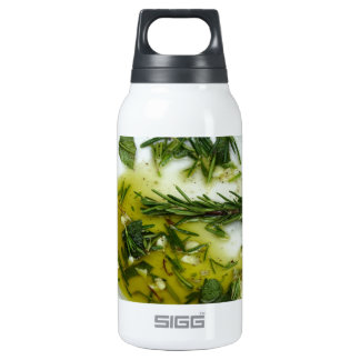 Garlic and herb infused olive oil insulated water bottle