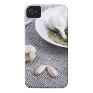 Garlic and spices on a gray fabric background Case-Mate iPhone 4 case
