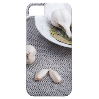 Garlic and spices on a gray fabric background iPhone 5 cover