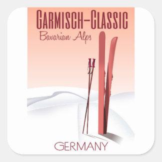 Garmisch Classic,Bavarian Alps Ski poster Square Sticker