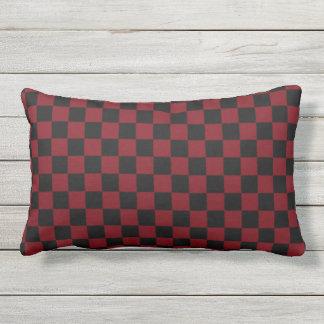 Garnet and Black Checkerboard Design Lumbar Pillow