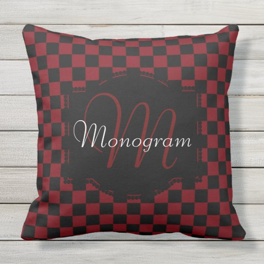 Garnet and Black Chequerboard Design with Monogram Throw Pillow