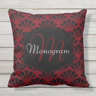 Garnet and Black Design with Monogram Outdoor Pillow