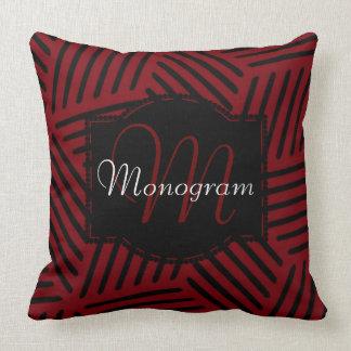 Garnet and Black Design with Monogram Throw Pillow