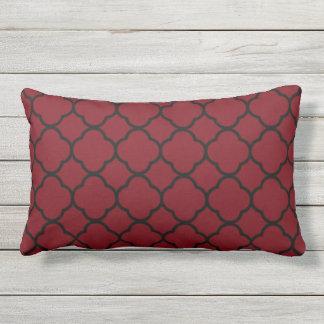 Garnet and Black Quatrefoil Pattern Lumbar Pillow
