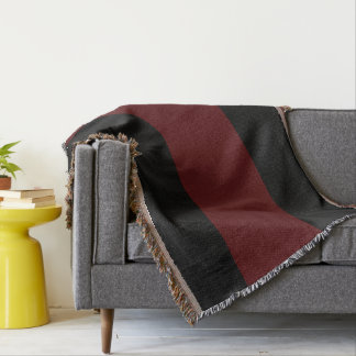 Garnet and Black Tri-Striped Throw Blanket