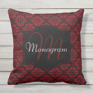 Garnet and Black with Monogram Outdoor Pillow