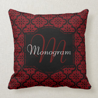 Garnet and Black with Monogram Throw Pillow