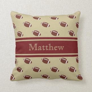 Garnet and Gold Football Throw Pillow