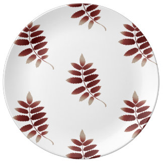 Garnet porcelain plate with leaves