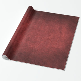 Garnet Red Old World Faux Leather Wrapping Paper