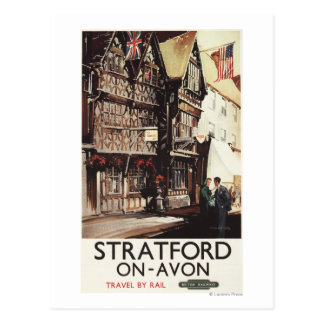 Garrick Inn and Harvard House Rail Poster Postcard