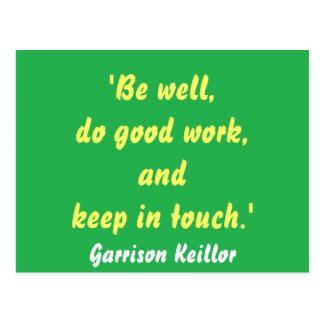 Garrison Keillor Quote Postcard